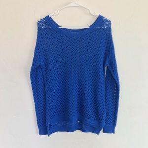 Olive & Oak Blue Open Knit Lightweight Sweater M